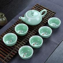 7pcs Tea Sets Exquisite celadon tea set Include 6 cups 1 pot,Jingdezhen Brand Set Kung Fu Cup Free shipping