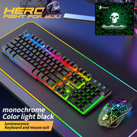 Keyboard Mouse 3-in-1 Kit USB Wired Computer Gaming Mouse Pad Accessories Set for Household Computer Accessories