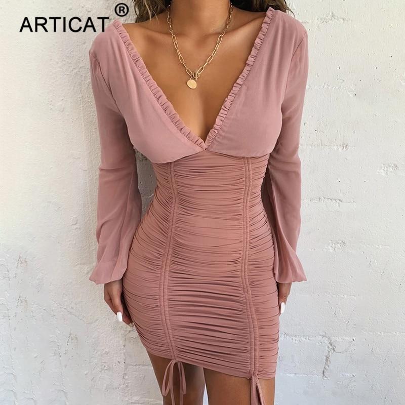 Articat Chiffon Summer Autumn Dress Women 2019 Sexy Long Sleeve Slim Elastic Bodycon Bandage Dress Short Pleated Party Dresses