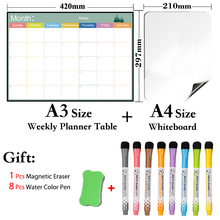 2 PCS Set  A3 Size Monthly Planner Table and A4 Size Whiteboard Magnetic Calendar Dry Erase White Board Fridge Message Board