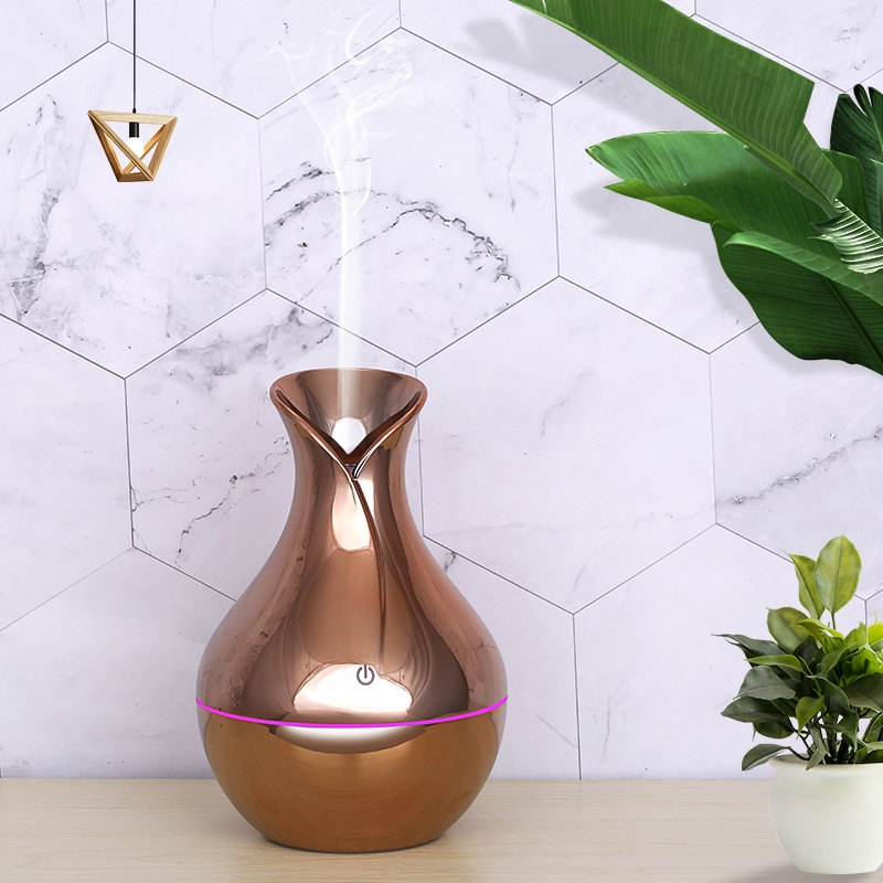 New 130Ml Usb Ultrasonic Air Humidifier Diffusers Aromatherapy Essential Oil Diffuser Humidifier Plating For Home Office Gold