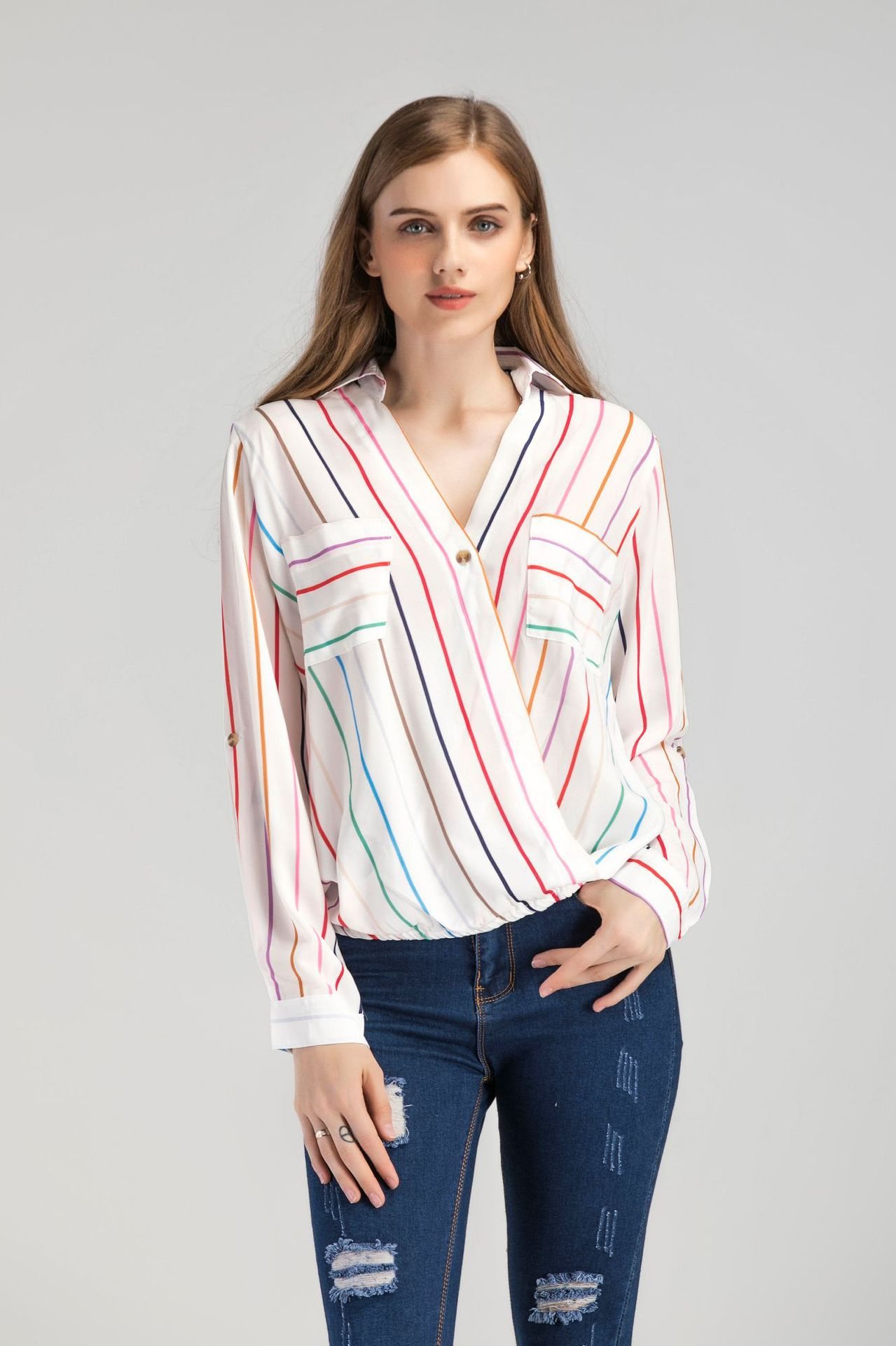 2019 été automne femmes rayé chemises à manches longues Blouses dames hauts col en V poche chemise en mousseline de soie Slim Streetwear Blouse Blusa