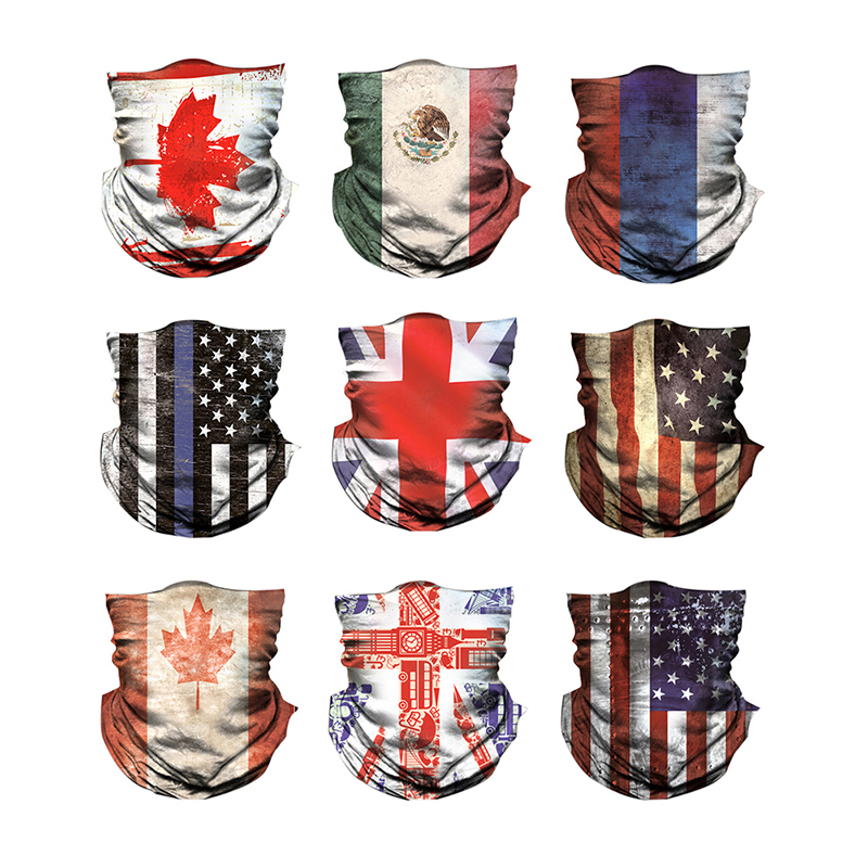 National Flag Printed Bandana Scarf Multifunctional Seamless Tubular Bandanas Tube Scarf Anti-sweat Sunshade Dust-proof Headband