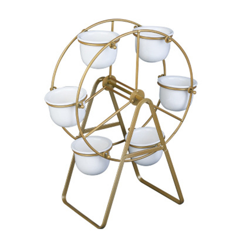 Creative Rotatable Ferris Wheel Iron Ceramic Nordic Green Art Iron Frame Set Flower Pot Home Decoration Accessories A1136 image