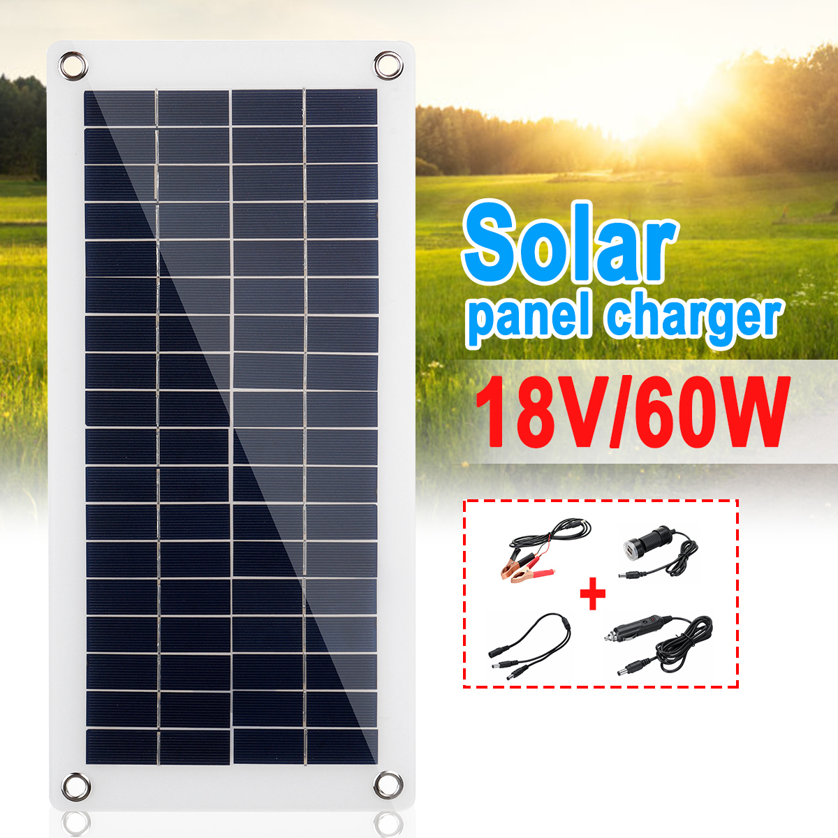 With10A/20A/30A Controller  60W/18V Solar Panel Dual USB Output Solar Cells Poly Solar Panel For Car Yacht Battery Boat Charger