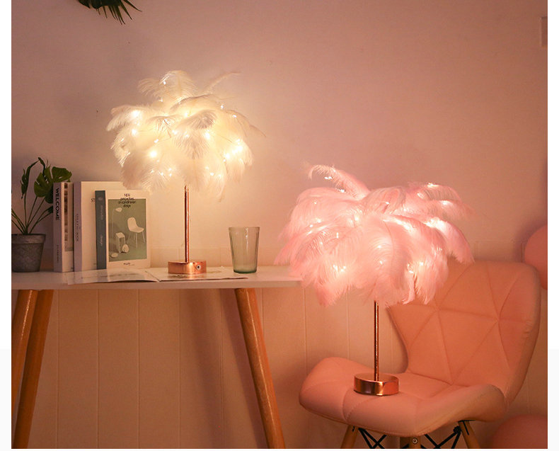Creative Feather Table Lamp Warm White Light Tree Feather Lampshade Girl LED Wedding Decorative Lights Pink White Birthday Gift