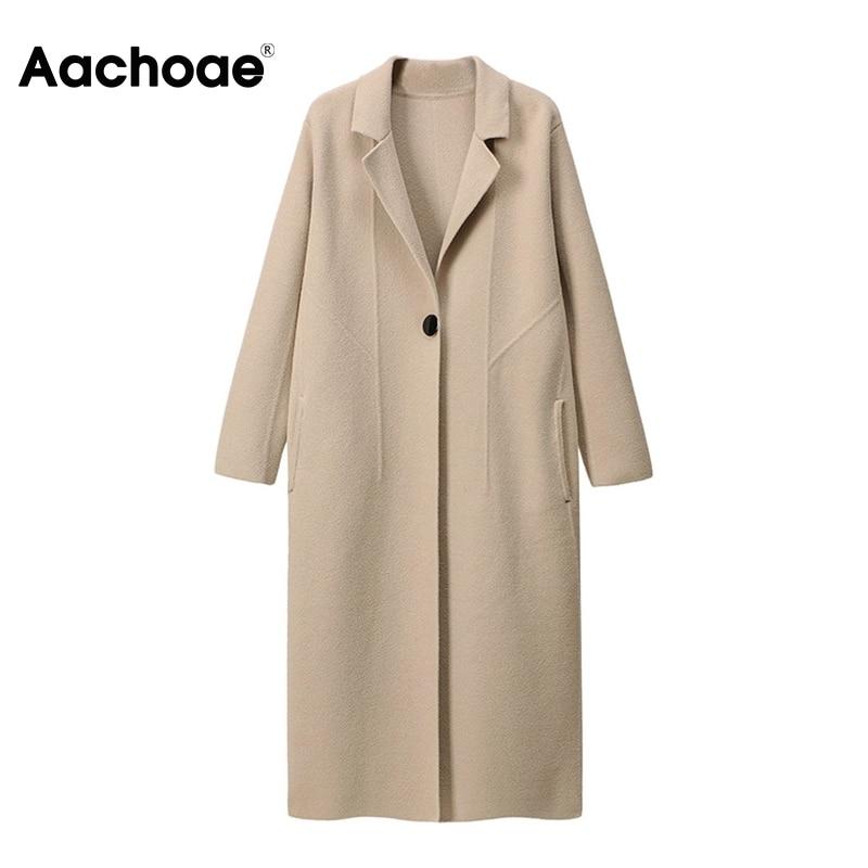 Aachoae elegante casaco de lã sólida feminino batwing manga longa solta grosso quente casacos senhora único botão feminino coreano outerwear