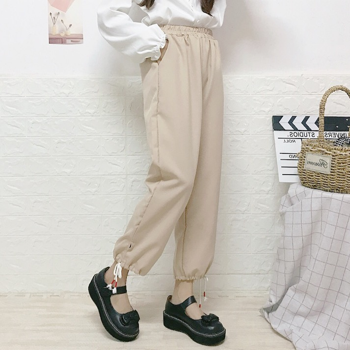 Autumn Winter Women New Japanese Soft Sister Sweet Casual Pants High Waist Wild Students Nine Pants Straight Pants College Style
