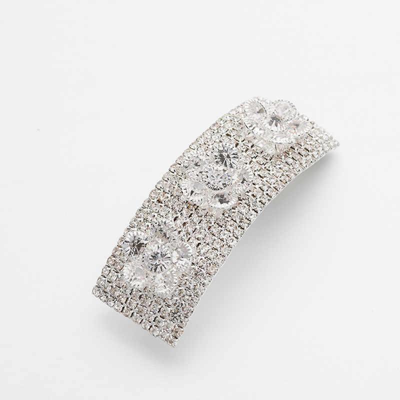 Europa e américa acessórios produto genuíno barrettes acessórios de cabelo headband ouro branco cristal clipe horizontal