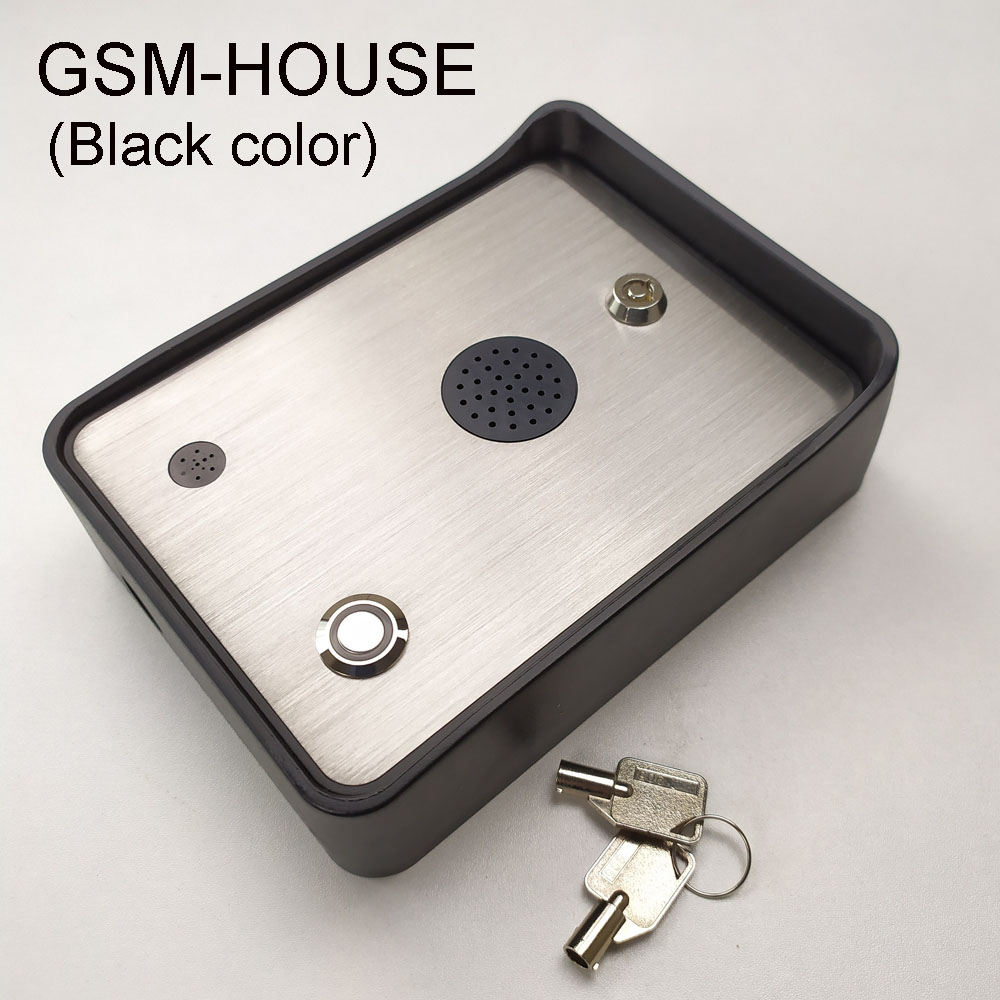 Free shipping Black color GSM Audio Intercom  for single House door and gate opener  access controller DC12V power input