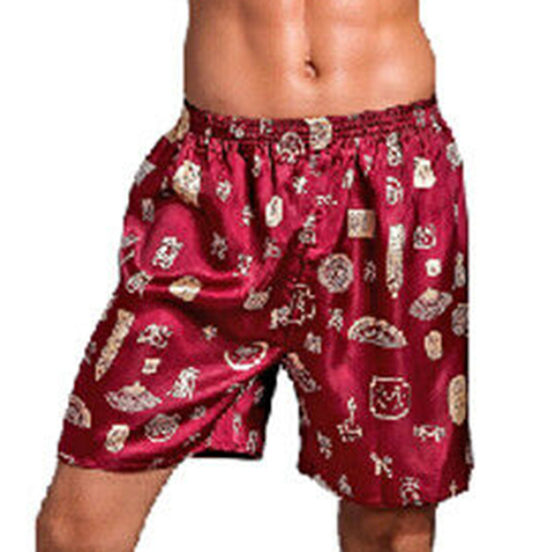 Casual Shorts Elastic Men's Casual Loose Boxer Shorts Home Pants Elastic Waist Printed Pajama  Homwear