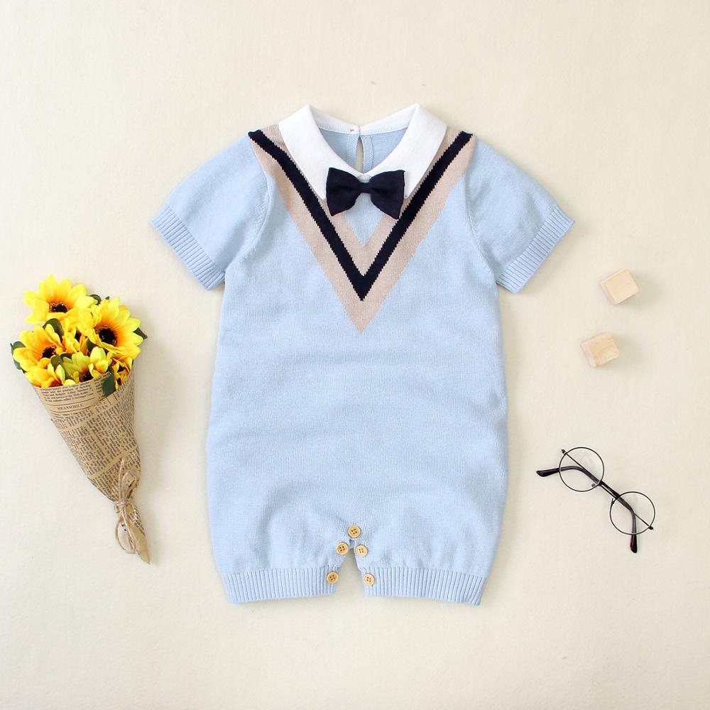 Baby Rompers Short Sleeve Newborn Infant Baby Boys Jumpsuits Clothes Outfits Fashion Gentlemen Style Toddler Kids Playsuits Wear