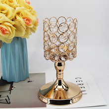 Candle-Holder Center-Centerpiece Table-Decoration Crystals Romantic Wedding Gold-Plated