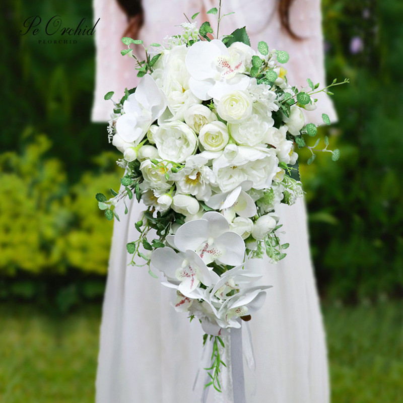 PEORCHID 2020 Waterfall Bridal Bouquet Wedding Brides Flowers Artificial Orchid Cascading Green White Peony Bouquet