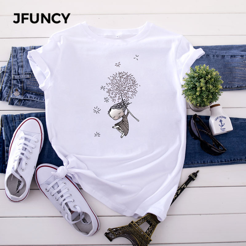 JFUNCY Plus Size 5XL Women T Shirts Fashion Print Short Sleeve Summer Cotton T-Shirt Female Tops Oversized Woman Casual Tshirt 3