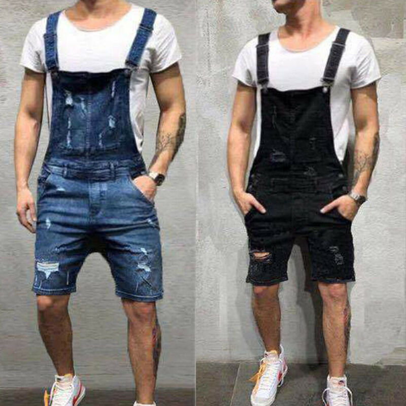 2020 Fashion Men Ripped Jeans Jumpsuits Shorts Summer Hi Street Distressed Denim One Piece Bib Overalls For Man Suspender Pants