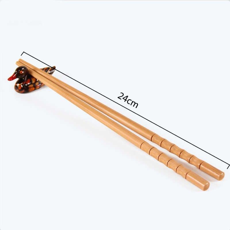 Nowy Handmade naturalny bambus drewno pałeczki zdrowe chińskie karbonizacja pałeczki do jedzenia wielokrotnego użytku Hashi Sushi żywności trzymać zastawa stołowa