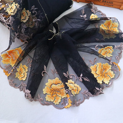 21.5cm Wide Big Yellow Flower Black Mesh Embroidery Lace Trimmings Dress Accessories Lace Fabric Sewing Crafts YLHB028