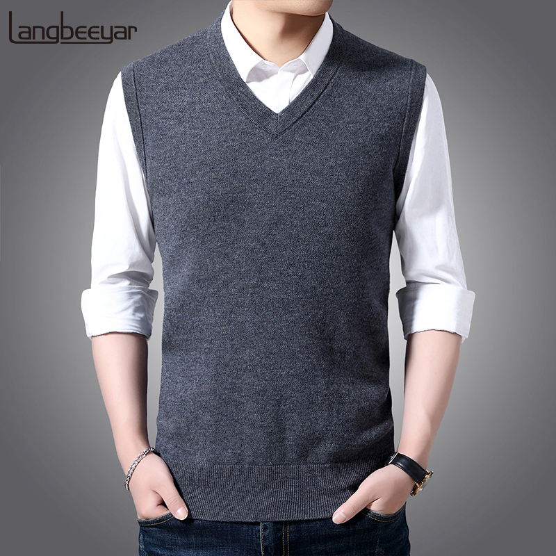 Fashion Brand Sweater For Mens Pullover Vest Slim Fit Jumpers Knitred Sleeveless Winter Korean Style V Neck Casual Men Clothes