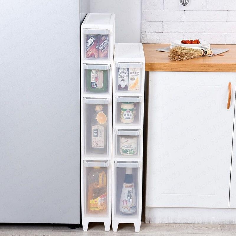 Gavetas de banheiro de cozinha armários de armazenamento acolchoado armazenamento de vaso sanitário armário estreito multi-camada combinação armário de armazenamento de plástico