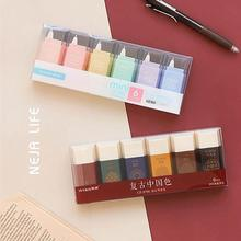 6 pcs/set Morandi Color Retro Chinese Style White Out Correction Tape Corrector School Office Accessories Supplies Stationery