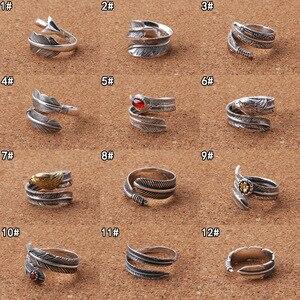 100% prawdziwe 925 srebro Feather otwarty vintage pierścionki dla kobiet mężczyzn biżuterii