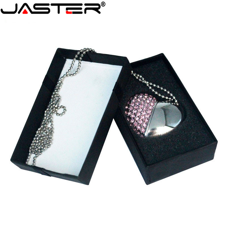 JASTER USB Flash  Drive Crystal Love Heart +box Pen Drive Precious Stone 4G/ 8G/ 16G/ 32G /diamante Memory Stick Wedding Gift