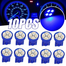 10pcs DC12V T10 LED Wedge Light Bulb W5W 194 2825 4SMD Dashboard Gauge Cluster Indicator Lights Blue pa led 10pcs x g14 t10 led light bulb 6 3v white color 4smd 3528 pinball machine led light