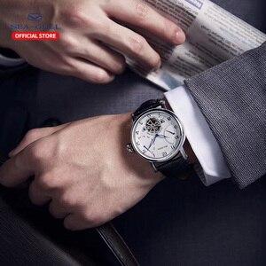 Image 5 - גברים שחף אוטומטי מכאני עסקי שעון לוח שנה 50m עמיד למים עור חלול פרספקטיבת גלגל תנופה שעון 819.316