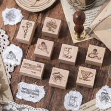 Time Retrospective Series Wood Rubber Seals and Stamps Journaling Diy Deco for Scrapbooking Craft Stamps Bullet Journal Supplies