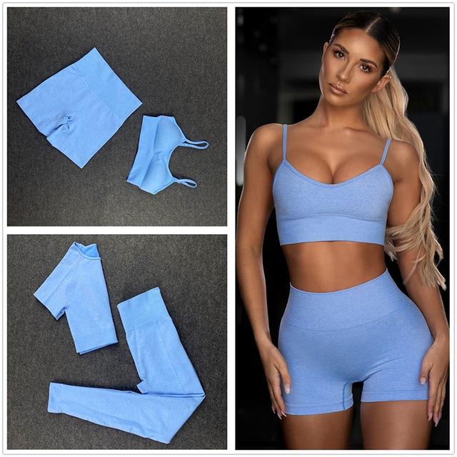 Seamless Women Yoga Set Workout Shirts Sport Pants Bra Gym Suits Fitness Shorts Crop Top High Waist Running Leggings Sports Sets 2