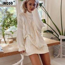 Женское трикотажное мини платье ingoo осеннее вязаное с высоким