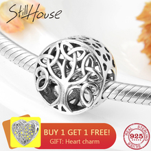 925 Sterling Silver Round shape tree of Life Hollow Charm Beads Fit Original Pandora Bracelet Necklace Jewelry Making