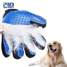 Pies rękawica do pielęgnacji zwierząt domowych silikonowa szczotka dla kotów grzebień Deshedding rękawice do włosów psy czyszczenie wanny dostarcza grzebienie dla zwierząt od PROSTORMER tanie tanio CN (pochodzenie) Silicone Glove Dog Combs Pet grooming glove Animal Care Pet Glove Pet Dog Cat Combs Brush Grooming For Dog Cat Hair Comb Bath Cleaning