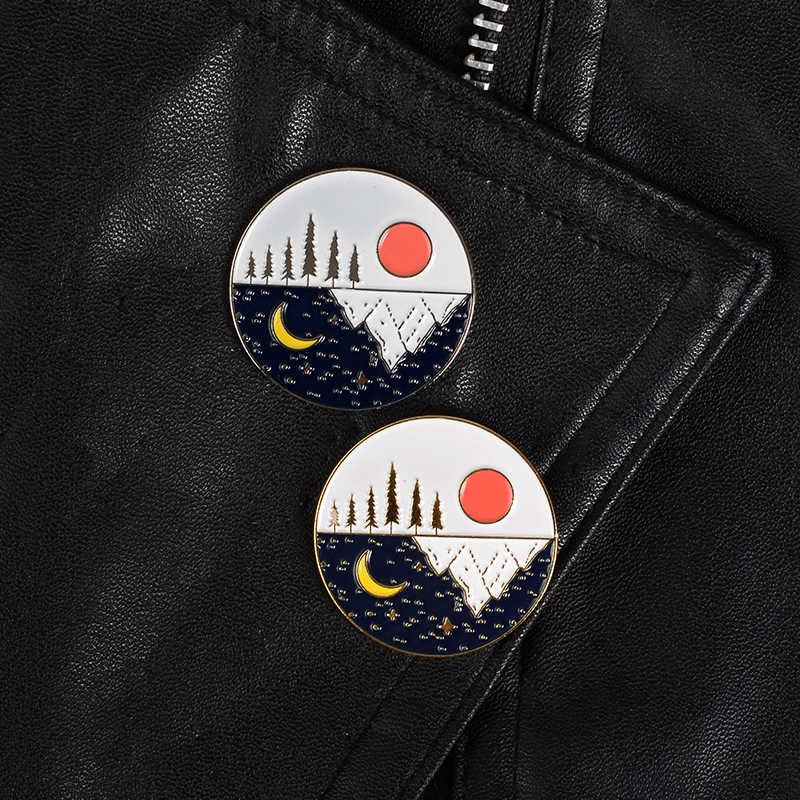 Snow Mountain enamel pins Gold silver starry sun moon badge brooch Lapel pin Denim Jeans shirt bag Nature jewelry Gift for kids