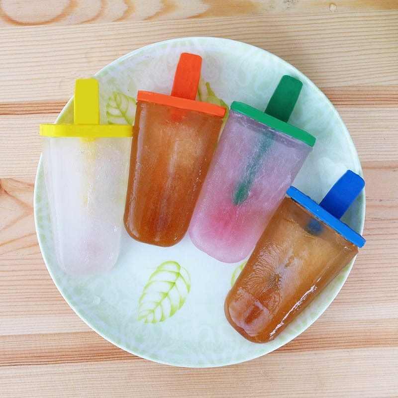Moule à crème glacée réutilisable avec bâtons | 1*4 moule à crème glacée, Bar à bonbons pour enfants, bricolage outils à crème glacée, Gadget d'été