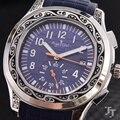 Reloj deportivo limitado trasero de cristal de zafiro azul negro caja antigua tallada en plata mecánica automática de marca de lujo para hombre