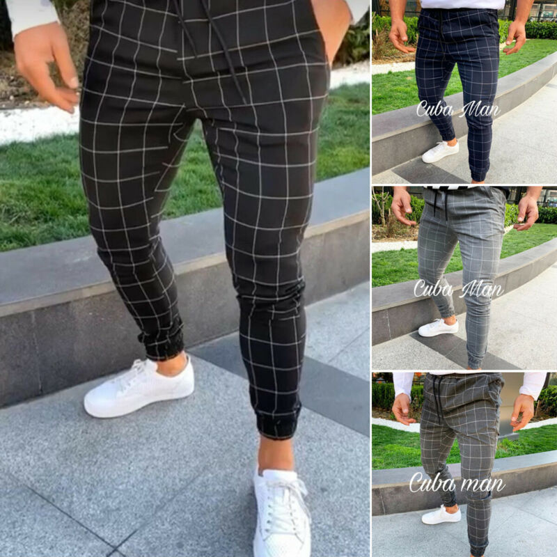 Fashion Men Slim Fit Plaid Straight Leg Trousers Casual Pencil Jogger Casual Pants Tracksuit Workout Joggers Sweatpants
