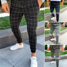 Fashion Men Slim Fit Plaid Straight Leg Trousers Casual Pencil Jogger C