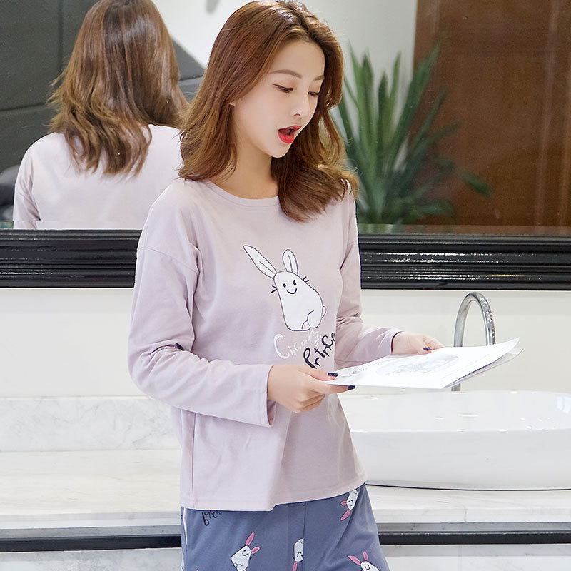 Korean-style New Style Hot Selling Thin Type For Spring And Autumn Long Sleeve Qmilch Pajamas Women's Casual Cartoon Crew Neck H