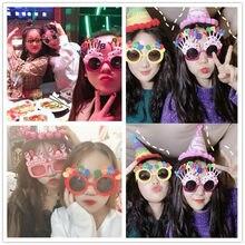 Feliz aniversário engraçado óculos photobooth foto adereços máscara festa de aniversário decoração foto cabine prop menino meninas decorações do chuveiro do bebê
