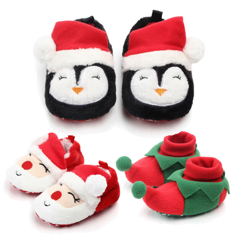 Baby Christmas Shoes New Unisex Baby Santa Shoes Slippers Costume First Christmas Size 0-18 Months Santa Claus Shoes