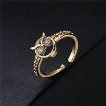 2021 nova chegada do vintage cor de ouro boho estilo feminino festa jóias venda quente aaa + cz coruja anel aberto para presente da menina