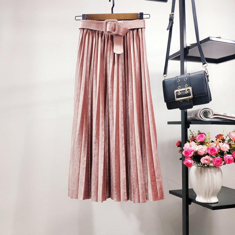 2020 Autumn & Winter New Arrival Skirt Gold Velvet Pleated Skirt High Waist Slim Waist Belt Skirt A-line Skirt Free Shipping