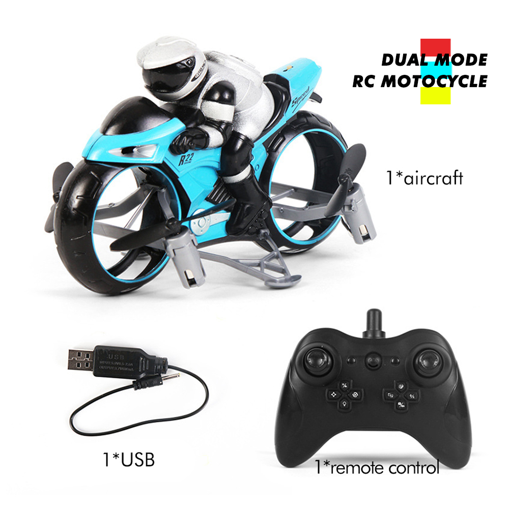 RC Motorcycle In Toy Vehicl Kids Toys 2 In 1 mini Electric motorcycle 2.4Ghz Racing Motorbike Boy Fligt Drone toys for children