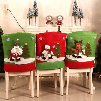 Funda de silla de Navidad para comedor, lavable, extraíble, lavable, funda para asiento, suministros para cena, fiesta, decoraciones navideñas para el hogar