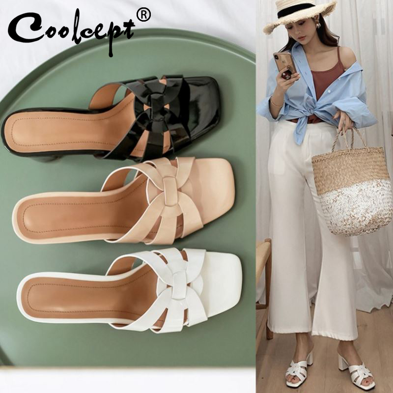 Coolcept Women High Heel Sandals Real Leather Shoes Women New Brand Summer Slippers Fashion Sandals Woman Footwear Size 33-43