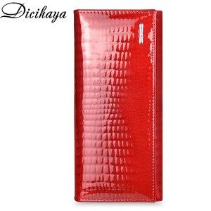 Image 4 - Кожаный кошелек DICIHAYA для женщин, классические длинные бумажники с крокодиловой застежкой, женский клатч с держателем для карт, модные дамские бумажники из воловьей кожи