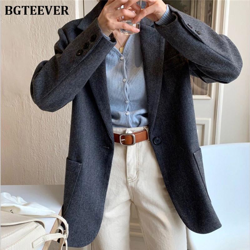 Autumn Dark Gray Women Suit Jacket Formal Blazer 2019 One-button Women Blazer Work Office Business Suit Outerwear Female Coat