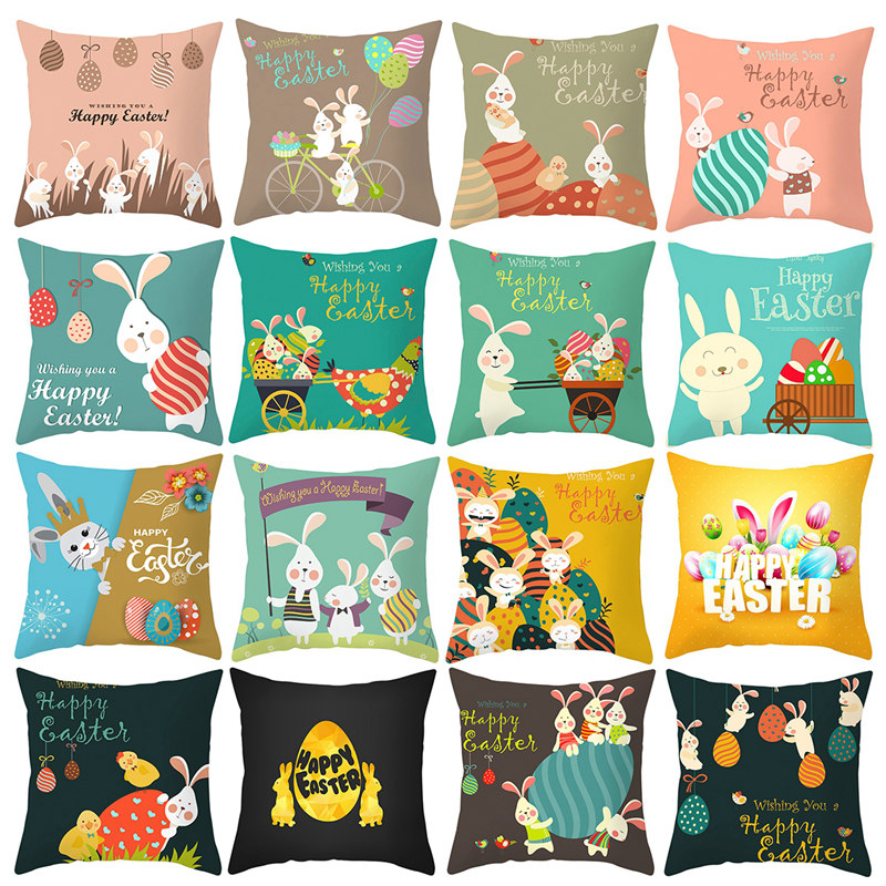 happy easter cushion cover easter decorations for home easter rabbit eggs pillowcase decor pillow cover sofa throw pillows case
